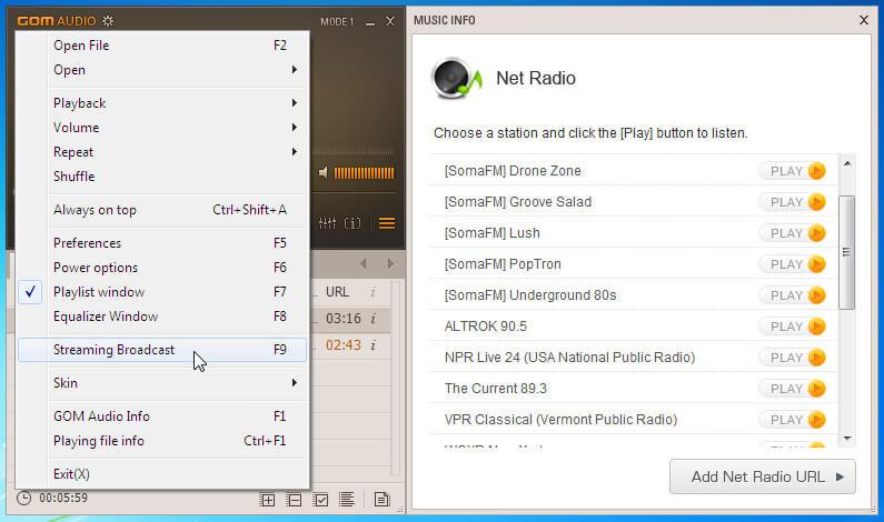 player audio cu radio streaming